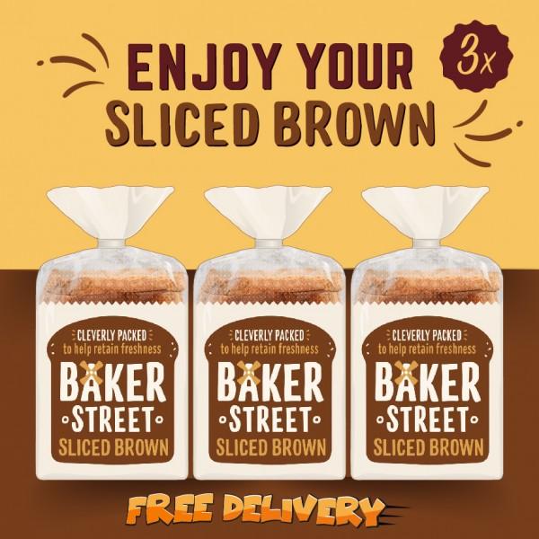 Baker Street Bread Brown Sliced Long Life 3x550g