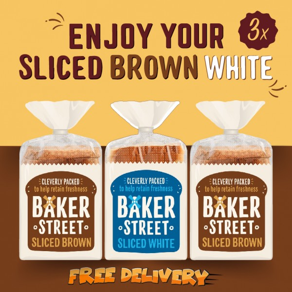 Baker Street Bread White(1x) and Brown(2x) Sliced Long Life 3x550g