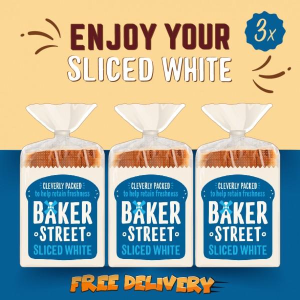 Baker Street Bread White Sliced Long Life 3x550g