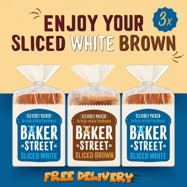 Baker Street Bread White(2x) and Brown(1x) Sliced Long Life 3x550g