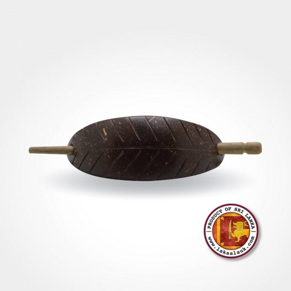 Handicraft Coconut Shell Hair Clip Mango Leaf Design